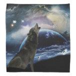 Wolf howling at the moon bandana