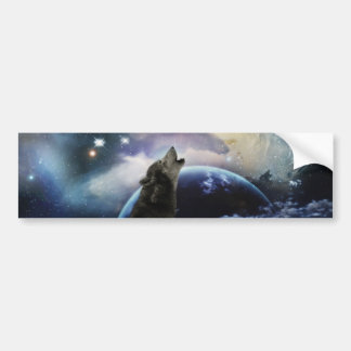 Wolf howling at the moon bumper sticker