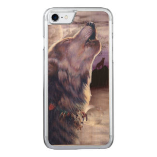Wolf Howling at The Moon Carved iPhone 8/7 Case