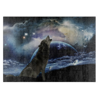 Wolf howling at the moon cutting boards