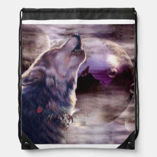 Wolf Howling at The Moon Drawstring Bag