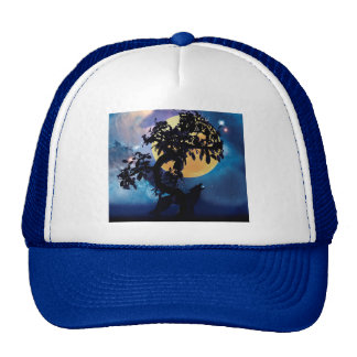 Wolf howling at the moon hats