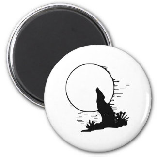 Wolf Howling at the Moon Fridge Magnets