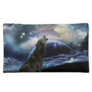 Wolf howling at the moon makeup bags