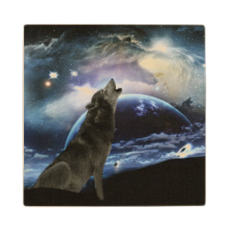 Wolf howling at the moon maple wood coaster