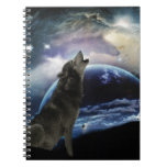 Wolf howling at the moon note book
