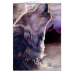 Wolf Howling at The Moon Note Card