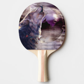 Wolf Howling at The Moon Ping Pong Paddle