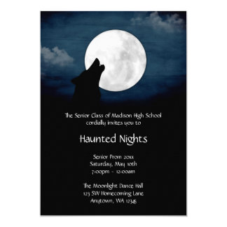 Wolf Howling at the Moon Prom Formal Invitation