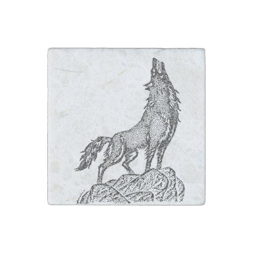Wolf Howling at the Moon Silhouette Stone Magnet