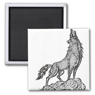 Wolf Howling at the Moon Silhouette Refrigerator Magnets