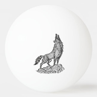 Wolf Howling at the Moon Silhouette Ping Pong Ball