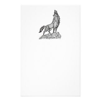 Wolf Howling at the Moon Silhouette Stationery