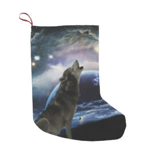 Wolf howling at the moon small christmas stocking