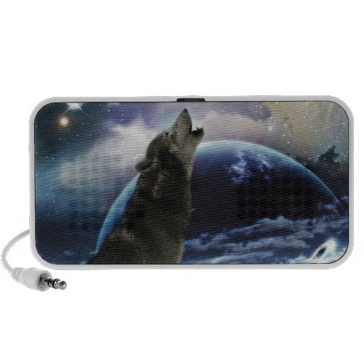 Wolf howling at the moon portable speaker