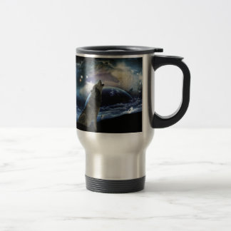 Wolf howling at the moon stainless steel travel mug