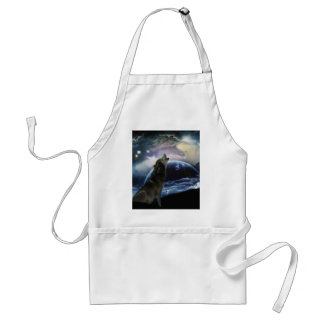 Wolf howling at the moon standard apron