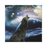 Wolf howling at the moon stretched canvas prints