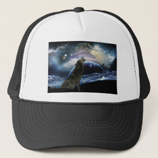 Wolf howling at the moon trucker hat