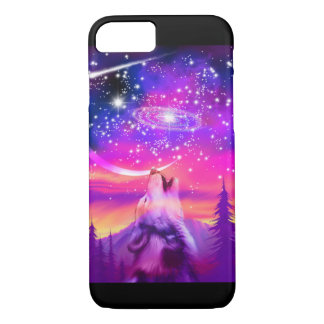 Wolf Howling at the Universe cell phone case