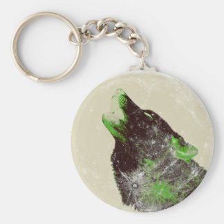Wolf Howling Basic Round Button Key Ring