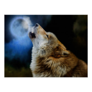 Wolf Howling Beneath Full Moon Print