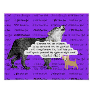 Wolf Howling Chihuahua - I will Trust God Black Poster