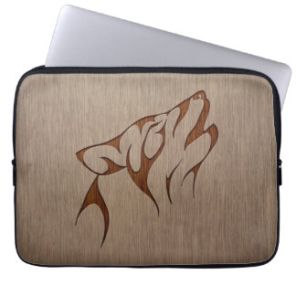 Wolf howling engraved on wood design laptop sleeve