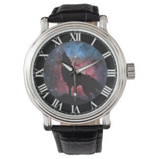 Wolf Howling in Galaxy Wristwatch