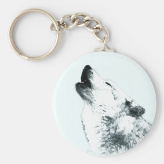 Wolf Howling Key Ring