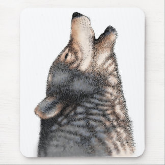 Wolf howling mouse mat