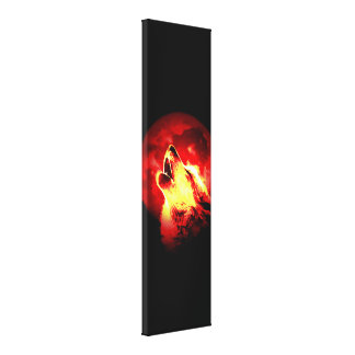 Wolf Howling & Red Moon Custom Wrapped Canvas