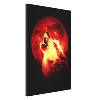 Wolf Howling Red Moon Wrapped Canvas Canvas Print