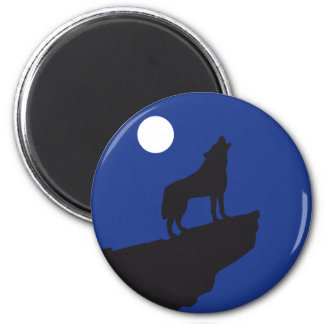 Wolf howling RK the moon 6 Cm Round Magnet