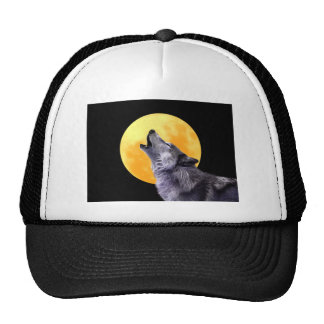 Wolf howls at the full moon cap