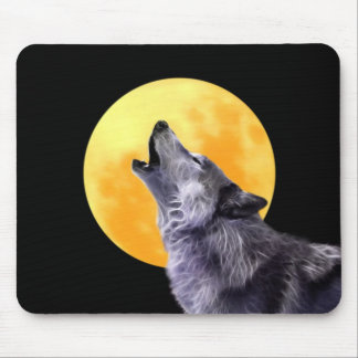 Wolf howls at the full moon mousepad