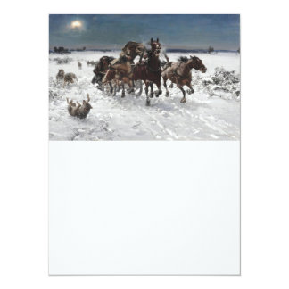 Wolf Hunt in the Snow 14 Cm X 19 Cm Invitation Card