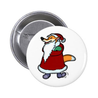Wolf in Santa Claus Clothing 6 Cm Round Badge