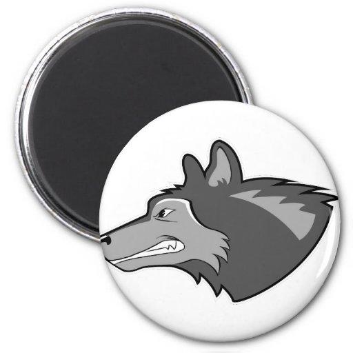 Wolf in Sleek Gray Fridge Magnets