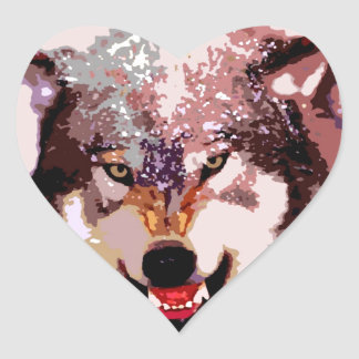 Wolf in Snow Heart Stickers
