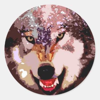 Wolf in Snow Round Sticker