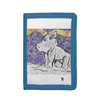 wolf in snow tri-fold wallet