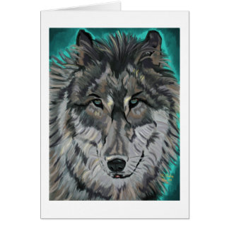 Wolf in Teal Ice notecard