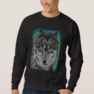 Wolf in Teal Ice sweatshirt