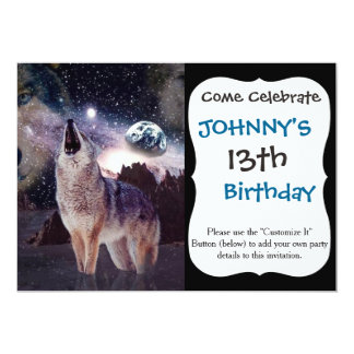 Wolf in the moon howling at the earth 13 cm x 18 cm invitation card