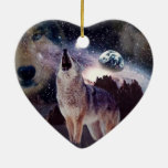 Wolf in the moon howling at the earth ceramic heart decoration