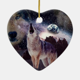 Wolf in the moon howling at the earth christmas ornament