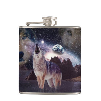 Wolf in the moon howling at the earth hip flask