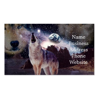 Wolf in the moon howling at the earth pack of standard business cards