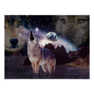 Wolf in the moon howling at the earth poster